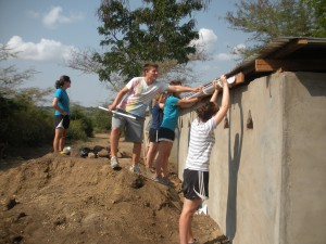 The rain-water harvesting system on top of the latrines we built were used to make a hand-washing station.